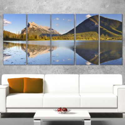 Designart Vermillion Lakes and Mount Rundle Landscape Wrapped Art Print - 5 Panels