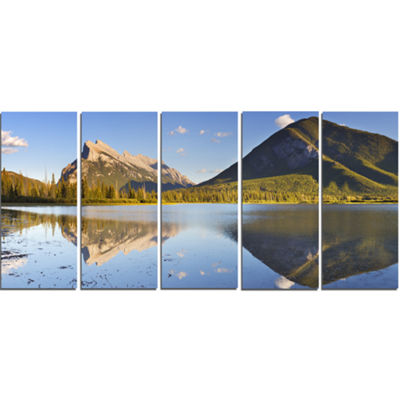 Designart Vermillion Lakes and Mount Rundle Landscape CanvasArt Print - 5 Panels