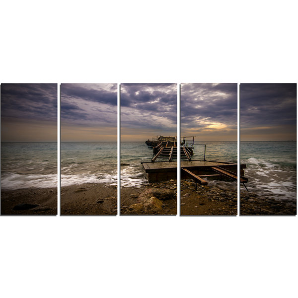 Designart Broken Wooden Pier For Boats Sea BridgeCanvas Art Print - 5 Panels