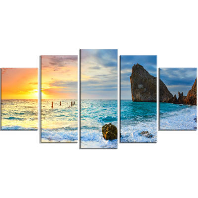 Designart Vibrant Morning Sea with Yellow Sun Seascape Wrapped Art Print - 5 Panels