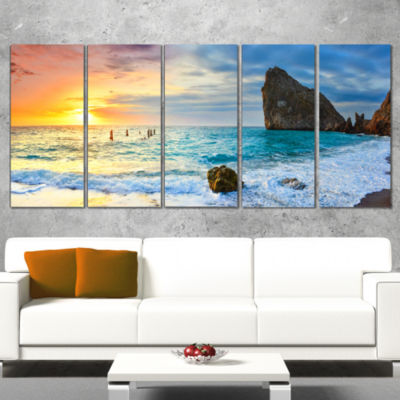 Designart Vibrant Morning Sea with Yellow Sun Seascape Canvas Art Print - 5 Panels