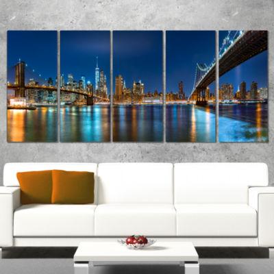 Designart Brooklyn and Manhattan Bridges Night Cityscape Wrapped Canvas Art Print - 5 Panels
