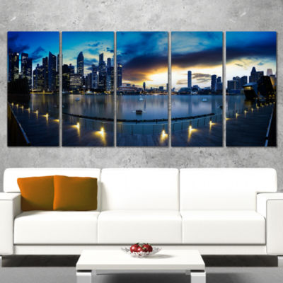 Designart View From Marina Bay Sands Panorama Cityscape Canvas Print - 5 Panels
