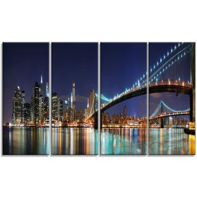 Designart Brooklyn Bridge Panorama Cityscape PhotoCanvas Art Print - 4 Panels