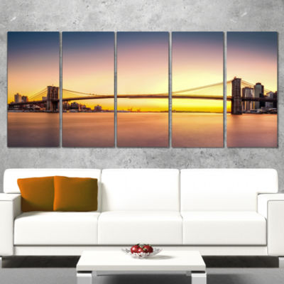 Designart Brooklyn Bridge Panorama Yellow Sky Cityscape Wrapped Canvas Print - 5 Panels