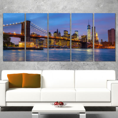 Designart Brooklyn Bridge with Lights and Reflections Cityscape Canvas Print - 5 Panels