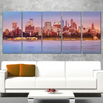 Designart Brooklyn Skyline Under Sunset Light Modern Cityscape Wrapped Canvas Wall Art - 5 Panels