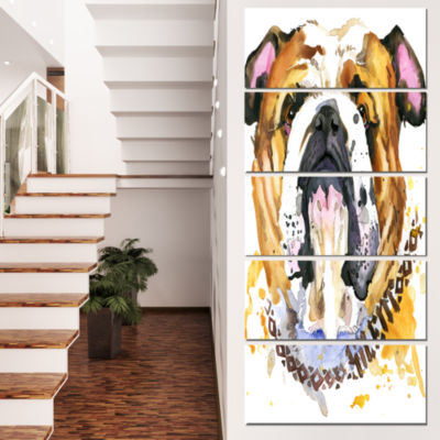 Designart Brown Aggressive Dog Head Animal CanvasWall Art -5 Panels
