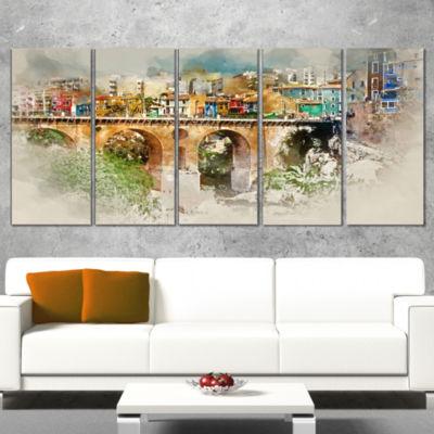 Designart Villajoyosa City Digital Art Bridge Cityscape Canvas Art Print - 5 Panels