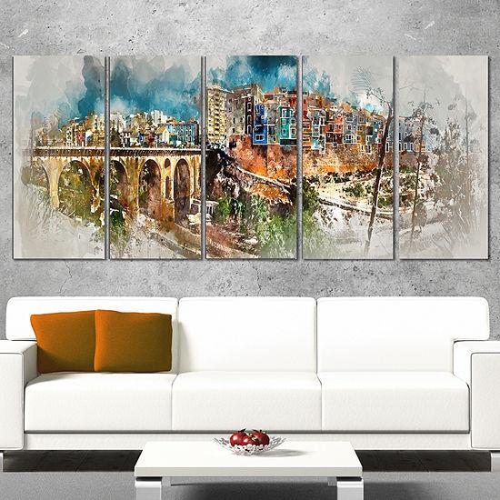 Designart Villajoyosa Town Digital Art Panorama Cityscape Canvas Art Print - 4 Panels