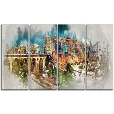 Designart Villajoyosa Town Digital Art Panorama Cityscape Canvas Art Print - 4 Panels