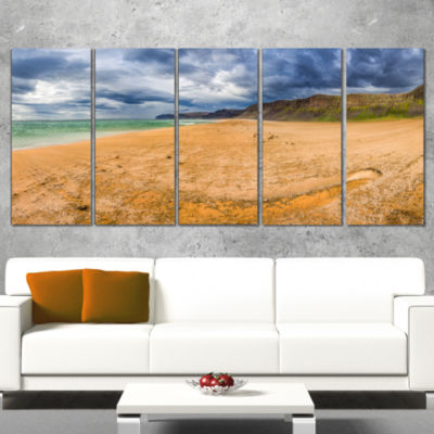 Designart Brown Beach By Arctic Sea Panorama Landscape Wrapped Canvas Art Print - 5 Panels