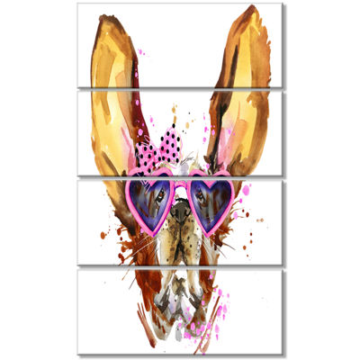 Designart Brown Cute Dog with Heart Glasses AnimalCanvas Wall Art - 4 Panels