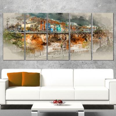 Designart Villajoyosa Town Digital Painting Cityscape CanvasArt Print - 5 Panels