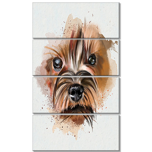 Designart Brown Funny Watercolor Dog Oversized Animal Wall Art - 4 Panels