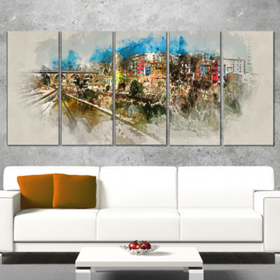 Designart Villajoyosa Town Watercolor Cityscape Canvas Art Print - 5 Panels