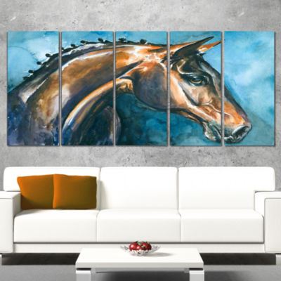 Designart Brown Horse On Blue Watercolor AbstractWrapped Canvas Art Print - 5 Panels