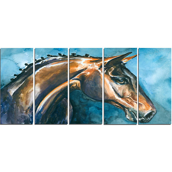 Designart Brown Horse On Blue Watercolor AbstractCanvas Art Print - 5 Panels