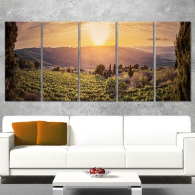 Vine Farm at Sunset Tuscany Panorama Landscape Canvas Art Print - 5 Panels
