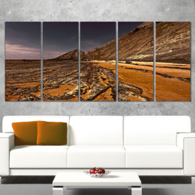 Designart Brown Rocky Coast Portugal Cityscape Canvas Print- 5 Panels