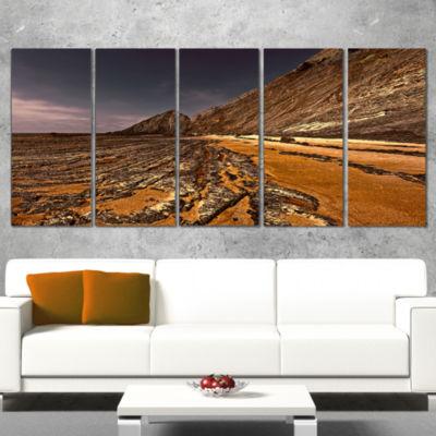 Designart Brown Rocky Coast Portugal Large Cityscape CanvasPrint - 5 Panels