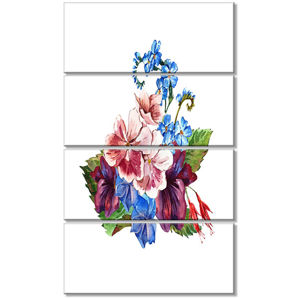 Vintage Floral Watercolor Floral Canvas Art Print- 4 Panels