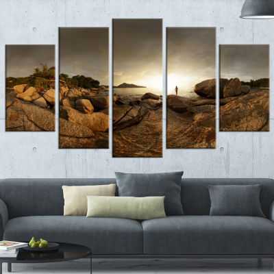 Brown Rocky Forest Panorama Landscape Wrapped Canvas Art Print - 5 Panels
