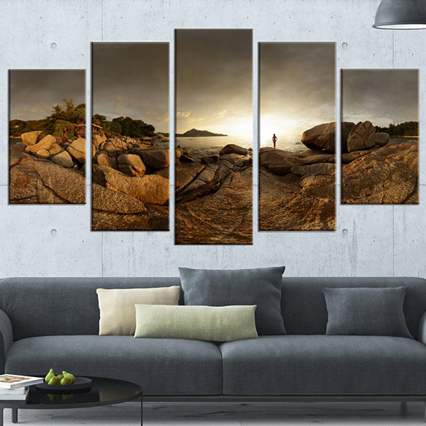Designart Brown Rocky Forest Panorama Landscape Wrapped Canvas Art Print - 5 Panels