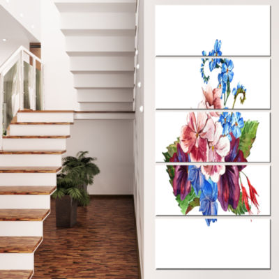 Designart Vintage Floral Watercolor Floral CanvasArt Print- 5 Panels