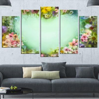 Designart Vintage Flowers with Heart Shape Large Floral Canvas Artwork - 5 Panels