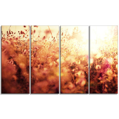 Designart Brown Shade Flowers in Sunshine Large Flower Canvas Art Print - 4 Panels