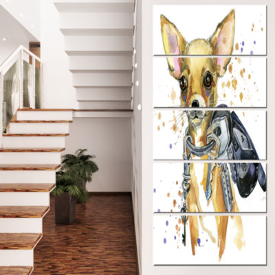 Designart Brown Toy Terrier Dog Watercolor Abstract Canvas Art Print - 5 Panels