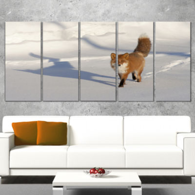 Designart Brown Winter Cat with Footprints Oversized AnimalWrapped Wall Art - 5 Panels