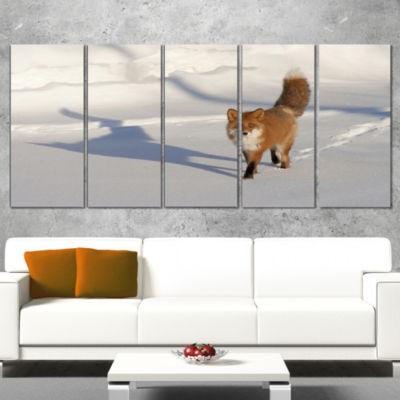 Designart Brown Winter Cat with Footprints Oversized AnimalWall Art - 5 Panels