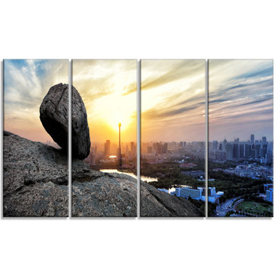 Designart Buildings and Crag On Rock Panorama Landscape Canvas Art Print - 4 Panels