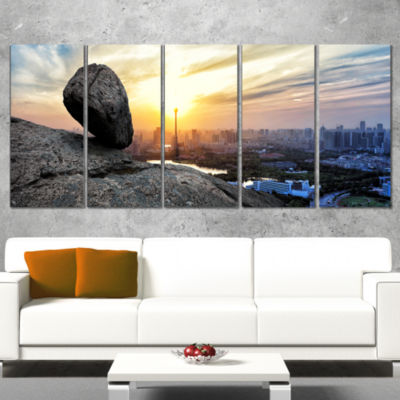 Designart Buildings and Crag On Rock Panorama Landscape Wrapped Canvas Art Print - 5 Panels