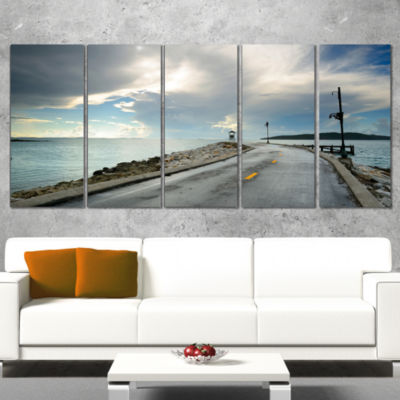 Designart Vintage Pathway into the Ocean Sea Bridge WrappedArt Print - 5 Panels