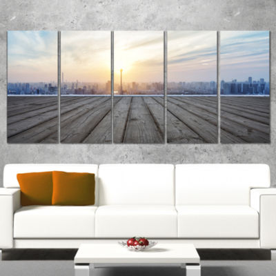 Designart Buildings with Empty Wooden Board Landscape Wrapped Canvas Art Print - 5 Panels