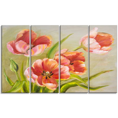 Designart Vintage Red Tulips Floral Art Canvas Print - 4 Panels