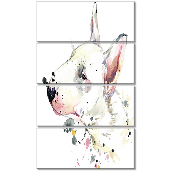 Designart Bull Terrier Dog Watercolor Animal Canvas Wall Art- 4 Panels