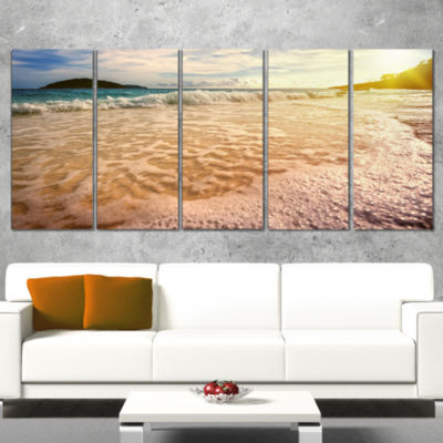 Designart Vintage Style Beach at Similan Park Seashore Wrapped Art Print - 5 Panels