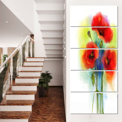 Designart Bunch of Bright Red Poppy Flowers LargeFlower Canvas Wall Art - 5 Panels
