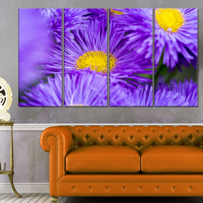 Designart Bunch of Large Violet Flowers Large Flower CanvasWall Art - 4 Panels