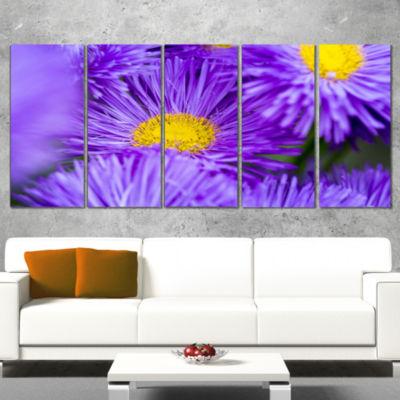 Designart Bunch of Large Violet Flowers Large Flower CanvasWall Art - 5 Panels