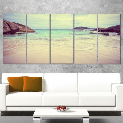 Designart Vintage Style Seashore Thailand Extra Large Seascape Art Wrapped - 5 Panels