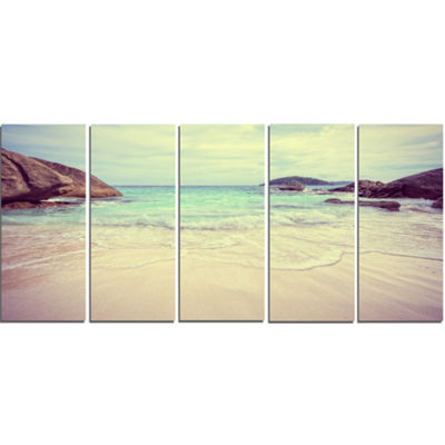Designart Vintage Style Seashore Thailand Extra Large Seascape Art Canvas - 5 Panels