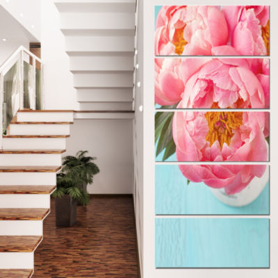 Designart Bunch of Light Pink Peony Flowers FloralCanvas Art Print - 5 Panels