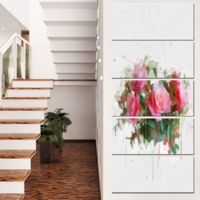 Designart Bunch of Pink Roses Watercolor Flower Artwork On Canvas - 4 Panels