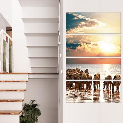 Designart Vintage Wooden Bridge To Seashore Seashore CanvasArt Print - 4 Panels