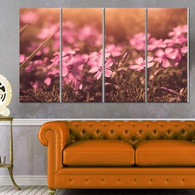 Designart Violet Flowers in Vintage Style Floral Canvas ArtPrint - 4 Panels